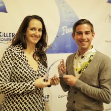 Alexandra Gibson, CMO, Event Farm & Brian Pesin, Marketing Manager, Event Farm with their Influencer Content Finny Award.