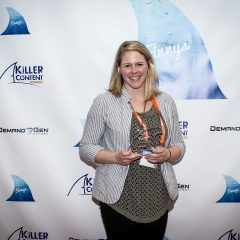 Kayla Bryant of Four51 accepting the Finny for Research-Based Content.