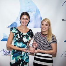 Gina Chinino and Kristyn Spetsios of Cushman & Wakefield accepting their Finny for Research-Based Content.