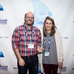 John Zorabedian and Suzanne Ciccone of Veracode accepting their Finny for Research-Based Content.