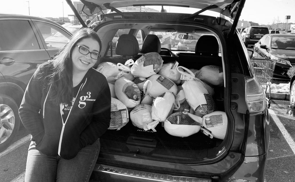 Kristen Forlini with a trunk full of turkeys!