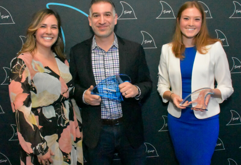Members of the Nitto, Inc. posed with their B2B's Choice Award, as well their Finny for Best Packaged/Bundled Content.