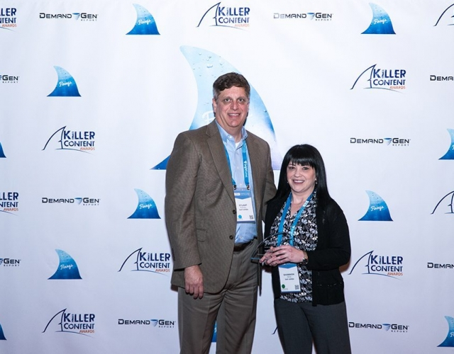 Stuart Roesel and Shannon Renz of SAP Ariba accept the Finny for their award-winning nurture campaign.