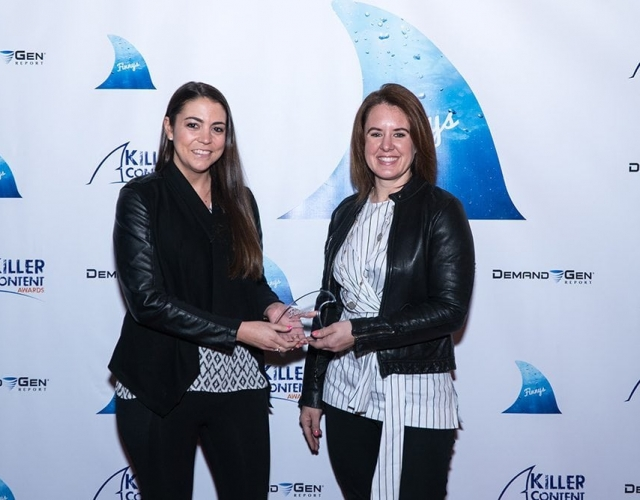 Alexandra Rynne and Michelle Blondin of LinkedIn accept the Finny award for the Video Content category.