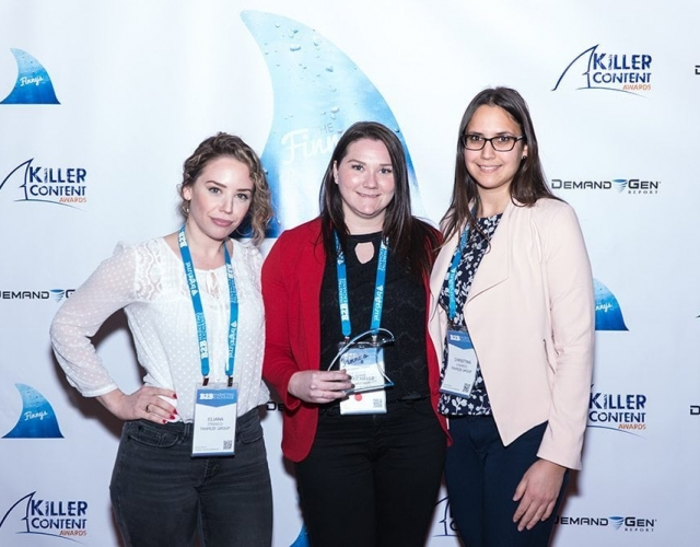 Eliana Franco, Michelle McCabe and Christina Ioannou of Trapeze Group accept the Finny award for the Account-Based Marketing Campaign category.